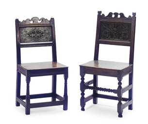 TWO ENGLISH OAK PANEL CHAIRS,