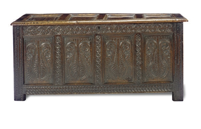 AN ENGLISH OAK COFFER,