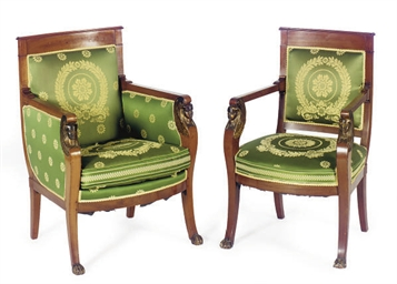 AN EMPIRE MAHOGANY AND PARCEL-