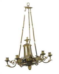 A GILT-METAL SIX-LIGHT CHANDEL