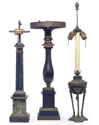 THREE PATINATED AND GILT-METAL