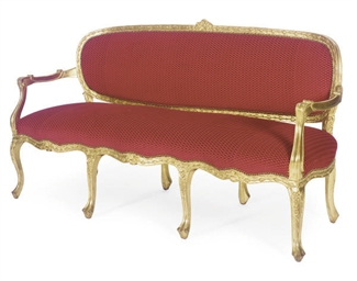 A GILTWOOD AND UPHOLSTERED SER