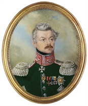 General Count Fiodor Nesselrode (1786-1868) in dark green uniform with silver-embroidered red collar, silver epaulettes, wearing the Commander cross and breast-star of the Royal Prussian Order of the Red Eagle (2nd class), the breast-star of the Imperial Russian Order of St. Stanislas, the badges of the Imperial Russian Order of St. Vladimir, the Royal Swedish Order of the Sword (4th class) and the Imperial Russian medals for 15 Years of Faithful Military Service and for the Taking of Paris 1814; sky background