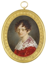 A young lady, in red velvet dress with falling lace collar, double-strand of pearls about her neck, brown upswept hair dressed in ringlets