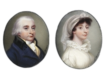 A pair of enamels: Henry Hope (1736-1811), in double-breasted navy jacket with black tabbed lapel, yellow stand-collar waistcoat, white frilled cravat, powdered hair; together with his niece and heiress, Ann Goddard Hope (1763-1820), in white muslin wrap-front dress with classically-inspired shoulder loops, white double-frilled collar, a sheer white turban in her dark brown hair