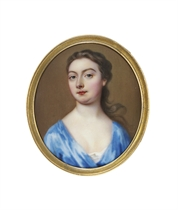 A young lady, in light blue silk day-gown, white underdress, loose dark hair over her right shoulder