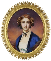 Marie von Wedel, in blue satin open-front dress with blue velvet trim, fine lace border and lace-inset bodice, a corsage of pink roses, fox fur stole, black gauze ribbon with a pearl-fastened bow about her neck, black gauze ribbons plaited throughout her red hair; sunset background