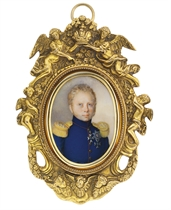 King William I of Württemberg (1781-1864), in blue uniform with red piping and gold epaulettes, wearing the cross of the Royal Württembergian Order of Frederick (founded 1830), the badge of the Royal Württembergian Order of Military Merit and one other badge; sky background