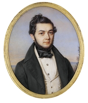 A young gentleman, in black coat, cream waistcoat, white shirt, black knotted cravat, brown hair combed to the side and thin beard; landscape and sky background