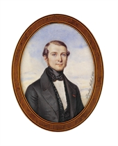 A young gentleman, in grey coat, embroidered black waistcoat, white shirt, black silk bow-tie, wearing the red ribbon of the French Order of the Legion of Honour; sky background