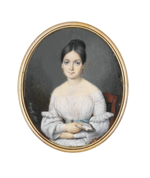 A young lady, seated in white