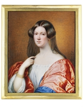 A young lady, in Renaissance-style dress with white shift, blue-lined red cloak over her shoulders, leaning on her right elbow, gold bracelet, her right hand holding a corner of her Spanish lace veil, dark upswept hair