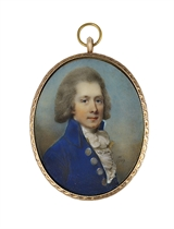A young gentleman called R. Harmsworth, in blue coat with large silver buttons, buff-coloured waistcoat and knotted white cravat with pleated jabot, grey-powdered wig; sky background