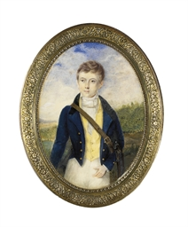 A boy, in blue coat with gold