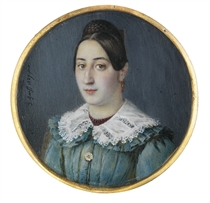 A young lady, in turquoise dress with ruffled collar, guipure lace overcollar, claret stand collar, sapphire jewelled rosette brooch, coral drop-pendant earring, brown hair parted in the middle and plaited in a bun