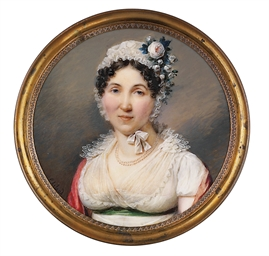 A lady, in white mull gown wit