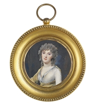 A young lady, in transparent white muslin dress with steel-blue silk border, ochre scarf, powdered curling hair; nocturnal landscape background