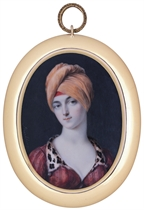 Mary Nelson Dudding, in printed red pelisse with leopard skin collar with drop-pearls at corners, white underdress, orange turban