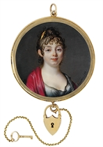 A young lady, in décolleté black dress of fine muslin with ruched sleeves, lace-bordered white chemise, claret-coloured shawl draped over her shoulders, gem-set gold comb in her curling dark hair worn à l'antique
