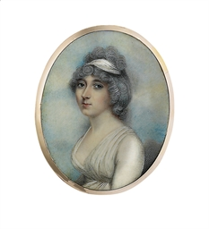 A young lady, in low-cut white