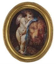 Cupid and the Lion, Cupid holding a blue silk blindfold resting on the tamed lion; landscape background