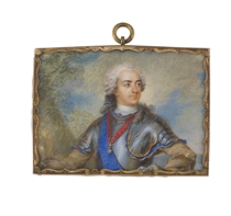 King Louis XV of France (1710-1774), in a plate armour cuirass, pauldrons enriched wih golden fleurs-de-lys, gold-bordered blue wool armour lining, buff shirt and white cravat, wearing the Order of the Golden Fleece and the blue moiré sash of the Royal French Order of the Holy Ghost, powdered wig with grey ribbon at the neck; landscape background