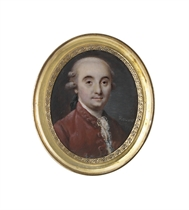 A gentleman, in russet velvet coat, white shirt and lace cravat, black bag wig, powdered wig en queue