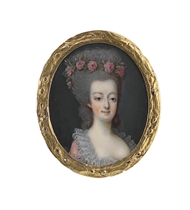 Queen Marie-Antoinette of France (1755-1793), in pink robe à l'anglaise with gathered French lace collar, a garland of pink roses adorning her powdered coiffure