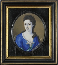 A young lady, in royal blue satin open gown with celadon green lining, fastened with gem-set gold and pearl strand closure, ruffled linen shift, gold embroidered gauze mantle, her dark curling hair falling over her left shoulder
