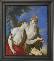 Bacchus and Ariadne, Bacchus in fur-lined red cloak, laurels in his curling dark hair, holding a spear entwined with laurels in his right hand, his left hand outstretched to a bowl held by Ariadne, in white dress and brown cloak, blue ribbons and strand of pearls with ruby-set pendant in her upswept curling fair hair, above her head gold crown set with stars, a fawn holding an urn; seascape with ship and sky background
