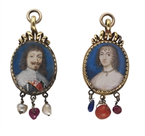 A pair of miniatures: a nobleman, in black doublet, slashed to reveal white, white lawn collar, wearing a red sash, long curling brown hair, moustache and pointed beard; together with a lady, in white décolleté dress, pearl necklace with drop-pearl pendant, drop-pearl earrings, fair hair dressed in ringlets