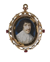 A young nobleman, in white doublet, slashed to reveal black, white lawn collar, long curling brown hair and moustache