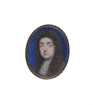 A young gentleman, in lace jabot, long curling wig
