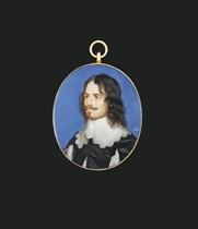 A gentleman called Sir William Scott, Lord Clerkington (d. 1656), in black doublet, slashed on front and sleeves to reveal white, white lace-bordered lawn collar, long curling black hair, moustache and small pointed beard; blue background