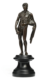 A BRONZE FIGURE OF MERCURY AS