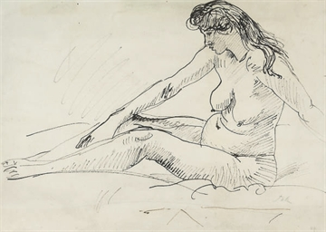Study of a female nude seated