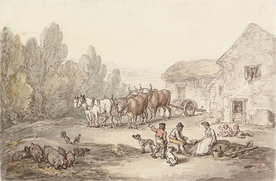 A farmyard scene with figures