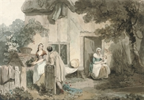 Figures outside a cottage