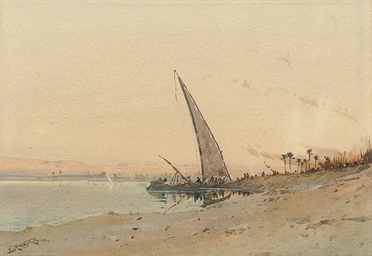 Feluccas loading in the Nile