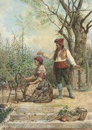 A woman spinning in a garden,