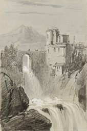 A castle by a waterfall with a