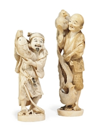 TWO JAPANESE IVORY OKIMONO