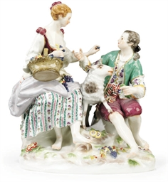 A MEISSEN GROUP OF A SHEPHERD