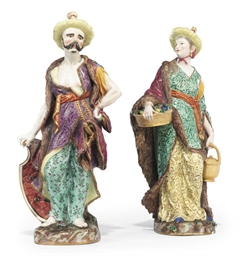 A PAIR OF MEISSEN MALABAR FIGU