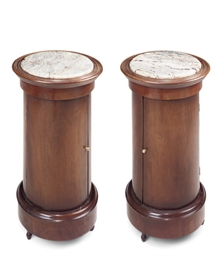 A PAIR OF MAHOGANY POT CUPBOAR