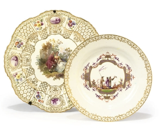 TWO MEISSEN PLATES