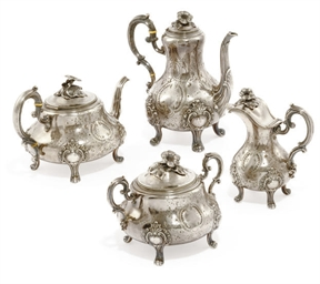 A FRENCH FOUR-PIECE SILVER TEA
