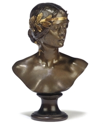A FRENCH BRONZE BUST OF WOMAN