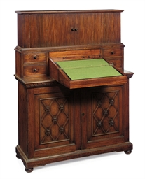 A REGENCY PADOUK SIDE CABINET