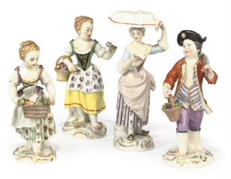 FOUR MEISSEN FIGURES OF CHILDR